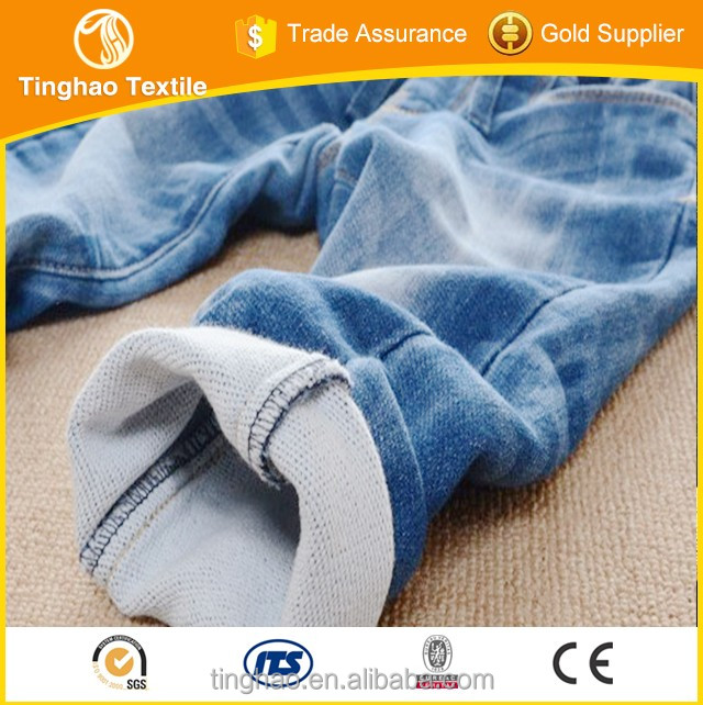 soft hand feel indigo stretch fake knitted denim fabric for baby jeans