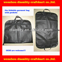 2014 new high quality foldable garment bag with pockets /non woven garment bag