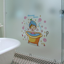 Free sample creative printed bath small woman home wall stickers for kids