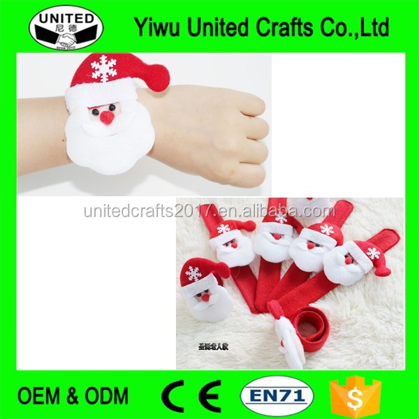 santa claus Bracelet Christmas Decoration Supplies Gift Fabrics Circle Slap Ring bracelet