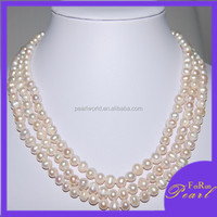 FR707 Elegant long rice pearl necklace with gold plated clasp