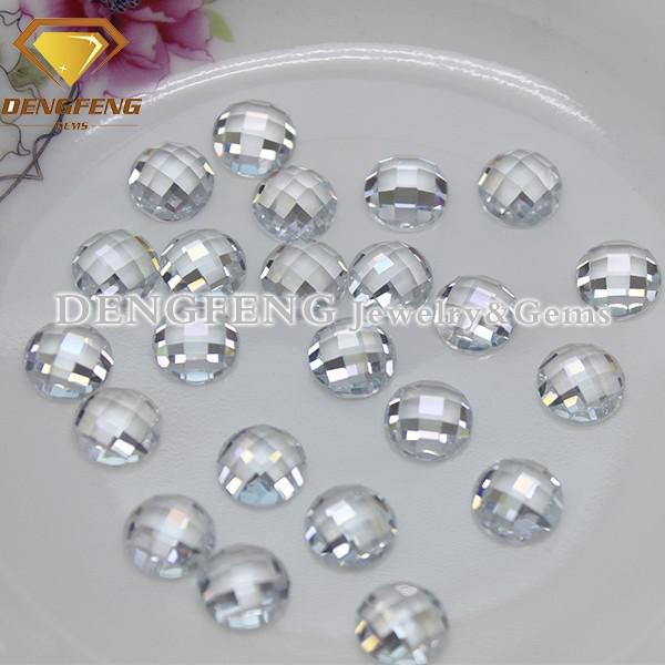 alibaba cz faceted flat back white cubic zirconia