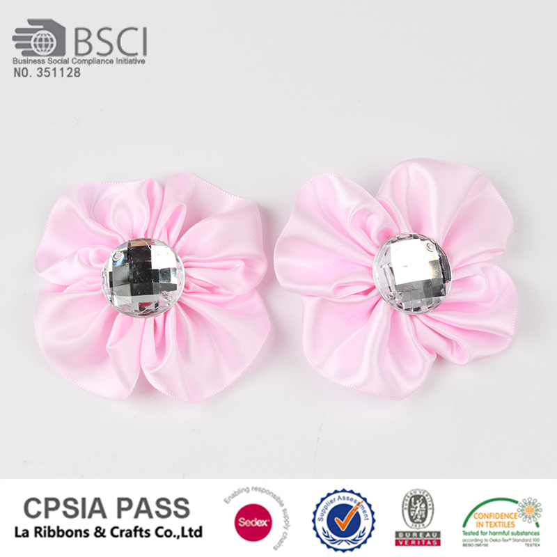 flower with crystal pink ribbon flower