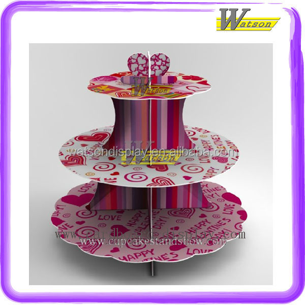hot sale supermarket and promotion 3 tiers square cupcake stand for kids birthday party
