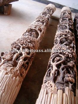 Hand-carved Wood Columns Carving