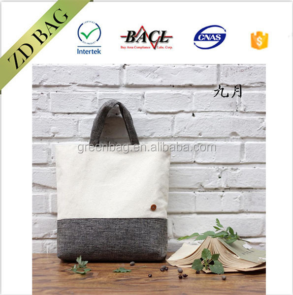new fashion style high quality art jute tote bag with button