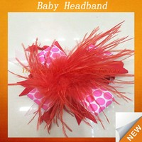 Kids baby feather knit headband with flower SFUH-067
