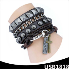 2016 fancy handmade design stainless steel jewelry high quality female fashion leather rivet bracelet