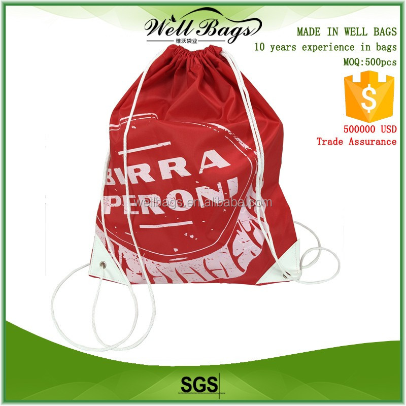 custom polyester 190T 210D red white nylon waterproof shoe drawstring cord bag with white triangle PU leather