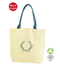 Promotional Cotton Canvas Women Fashion Bag With Pu Leather Handle