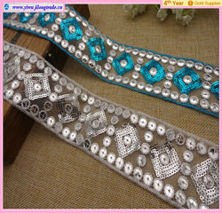 2014 newest design 18.5cm sequin shape embroidered lace fabric