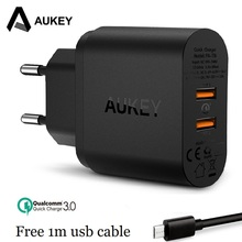 AUKEY PA-T16 36W Dual USB Port Travel Wall Charger With Qualcomm Quick Charge 3.0 with a 1m Mirco USB cable