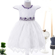 Children Party Dresses baby girl dress in white red color frock design for girls