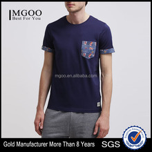 MGOO New Model 60% Cotton 40% Polyester Cuffed Sleeve Men's T-shirt In Different Color Pocket