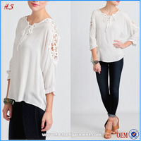 Bell sleeve cuff white lace on shoulder women frock top and latest long tops for women