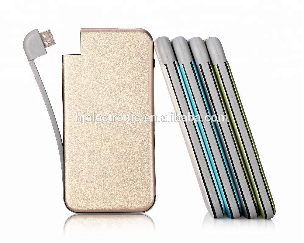 New hot item <strong>electronics</strong> 2018 metal built in cable power bank credit card size