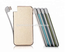 New hot item electronics 2018 metal built in cable power bank credit card size