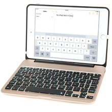 For iPad Mini 4 Keyboard Case, 7-color Backlit Slim Aluminum Bluetooth Keyboard with Protective Clamshell Case Cover
