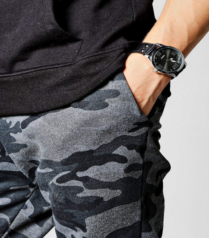65% Cotton 35% Polyester Mens Slim Fit Joggers Camo Pants