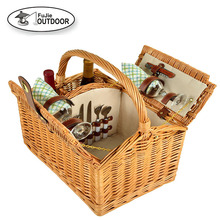 """Picnic Time"" Willow Picnic Basket with service for 2, with Stainless Steel Silverware,with Opener and Wine glasses"