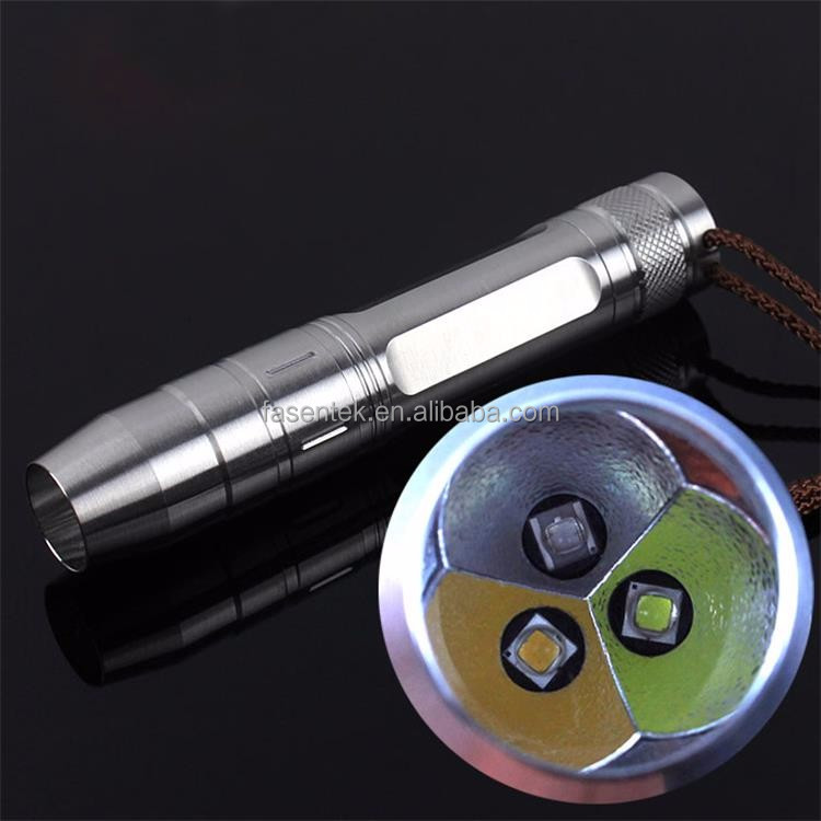 Stainless Steel 480 lumens 10 Watts Rechargeable LED UV Flashlights with Scale