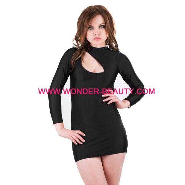 Wholesale latex fashion black long sleeve backless maternity bandage dress