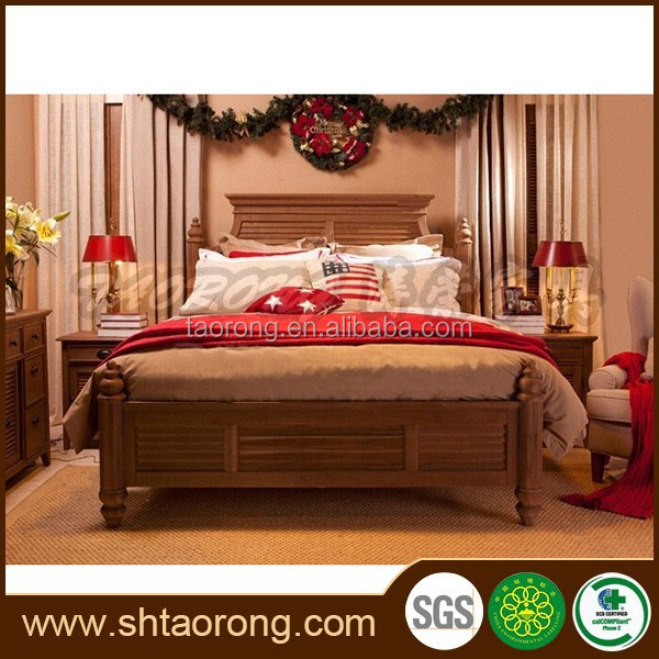 European style antique carved wood bed