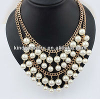 fashion multi layers plastic pearls beaded necklace