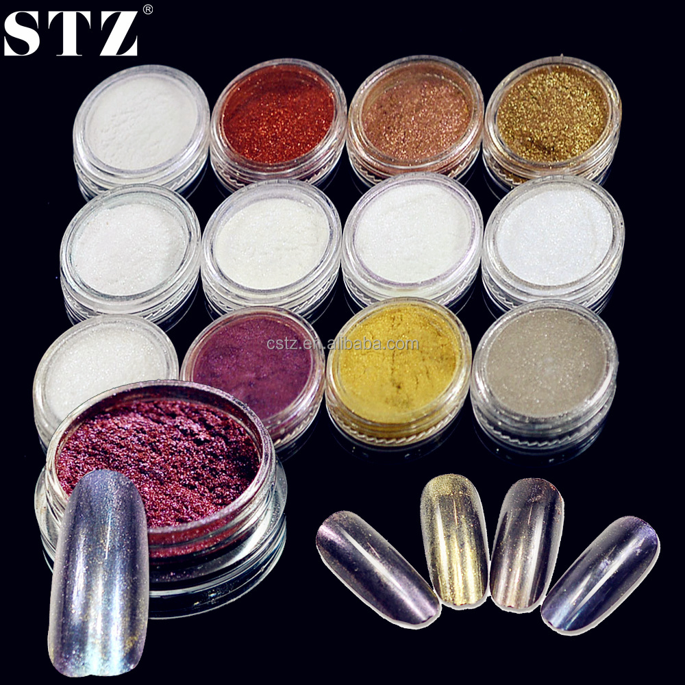 STZ 12 Color Optional Magic Mirror Power For Nail Art Glitter Laser Gradient Powder 3D Decoration
