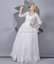 Custom made 3/4 Sleeves Floor length Embroidered And Beaded Lace Wedding Dress Fat Woman
