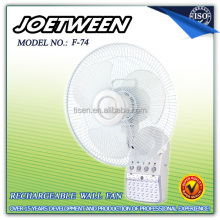 14 inch rechargeable battery operated wall fan with light F74