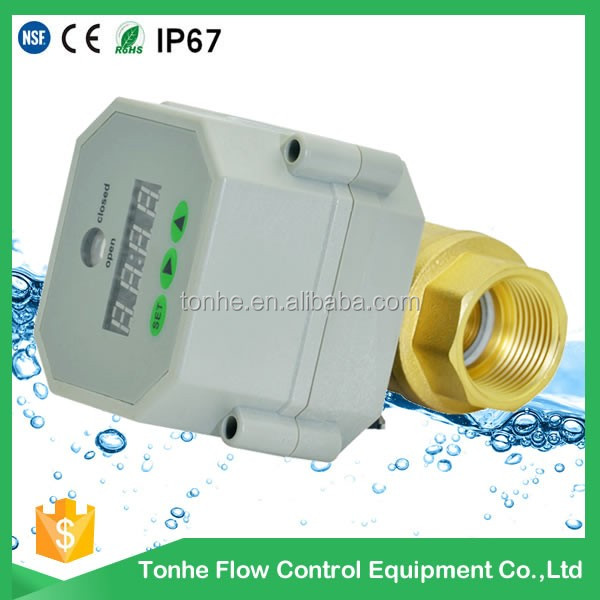 1/2'' DN15 AC/DC 9-24v control water motorized electric ball valve with timer