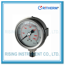 All stainless steel hydraulic oil filled pressure gauge with U clamp