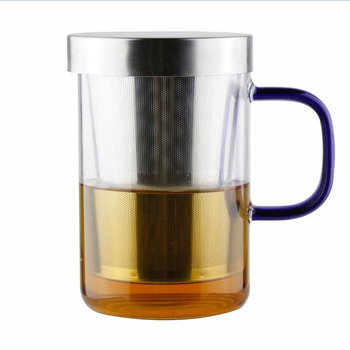 Heat Resistant borosilicate glass tea cup with stainless steel filter