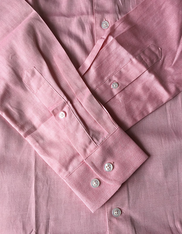 long sleeve pink color slim fit mens shirt