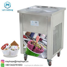 stable tempearature Intelligent flat pan instant ice crean rolls machine