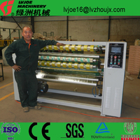 Slitting and rewinding machine for both super clear packing tape and stationery tape cutting machine