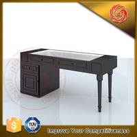 store retail furniture glass and wooden jewelry display table with storage cabinet
