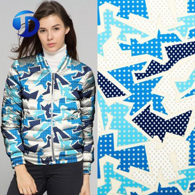 ONE METER CUSTOM Geometry Camouflage Digital Printing 100% Polyester Waterproof Fashion Women Down Jacket Fabric