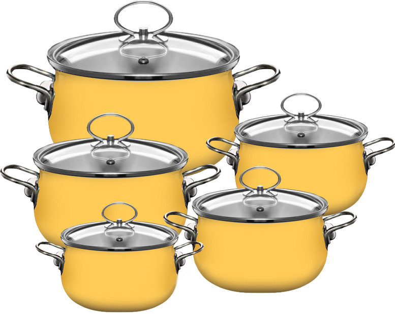 pure color factory wholesale Porcelain korea ceramic cookware yellow, cast iron ceramic pan, stainless steel stock pot with 304