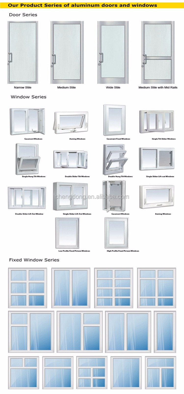 aluminium sliding door systems, View door systems, CHENGDONG+ ...