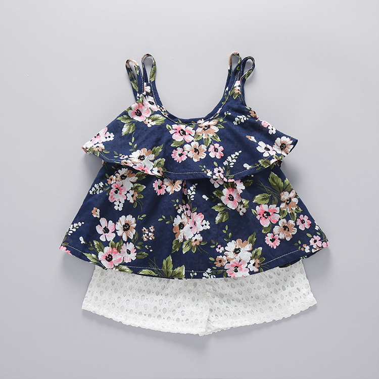 2019 best selling summer print flower fresh little girls clothing sets with fastest delivery