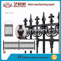 modern ornamental strong quality wrought iron spear head fence american luxury double swing aluminum fencing for garden driveway