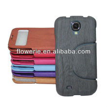 FL198 factory New arrival wallet window Wood leather case filp stand case high quality case for samsung galaxy s4