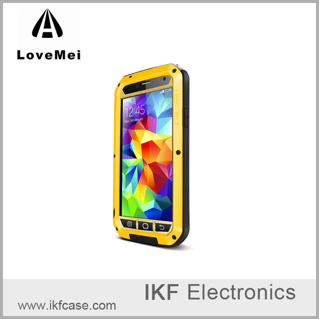 Lovemei Waterproof Case for Samsung Galaxy S5 Original Powerful Cover Metal Aluminum Armor Phone Case