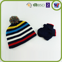 Cute Suitable Knitted Beanie Hat Custom Cap With Pom Pom Ball Hats And Glove Sets