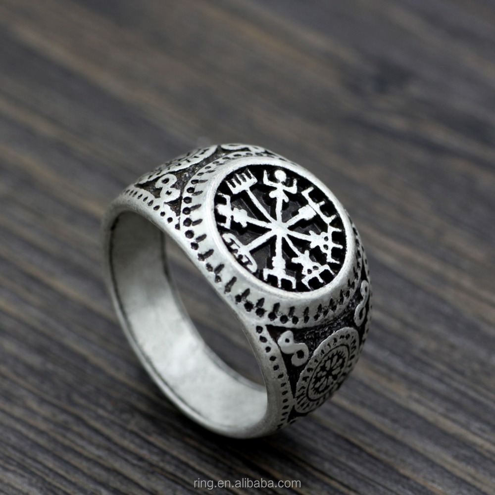 Men Nordic Pagan Triskele Helm of Awe Aegishjalmur Futhark Viking Magic Stave Runic Amulet Ring