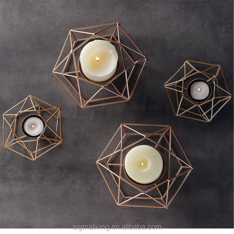 Romantic furniture accessories geometric pattern golden iron candles holders