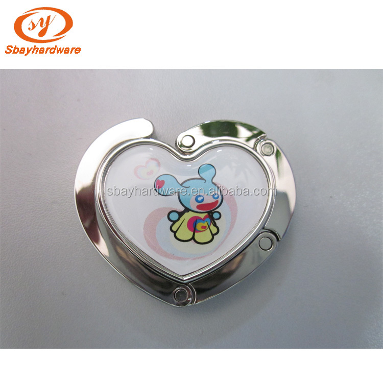 Promotion gifts custom logo foldable metal printed bag hanger purse hook
