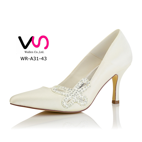 Nice lace and dyeable satin wedding dress shoes WR-A31-43 bridal shoes in white women shoes inn cheap price